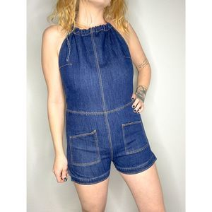 Signature8 | Backless denim halter romper | Sz L